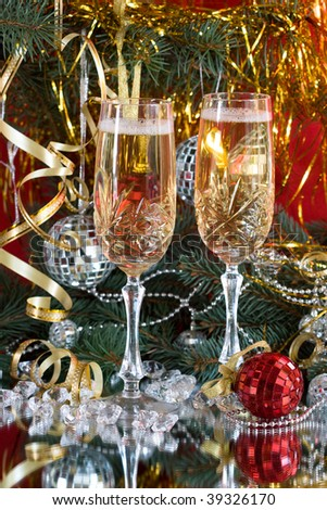champagne glasses at the New Year holiday