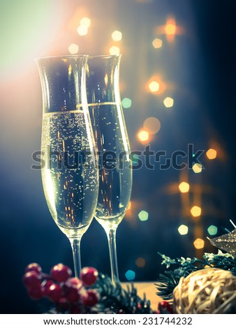 Champagne glasses closeup