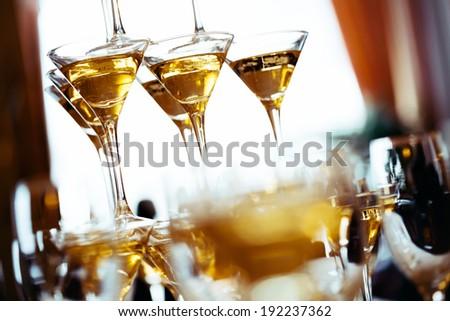 Champagne glasses. Concept picture. Selective focus. - stock photo