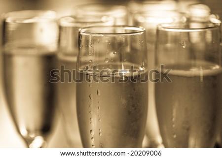 champagne glasses full - stock photo