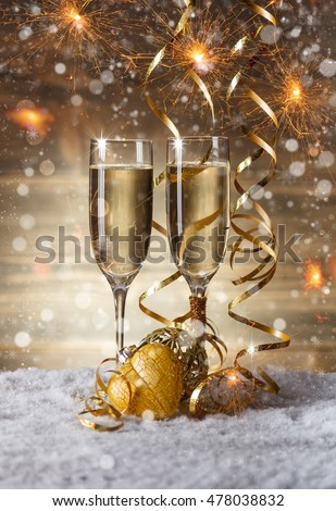 Champagne glasses in Christmas setting