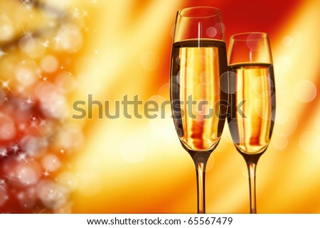 Champagne glasses ready to bring in the New Year - stock photo