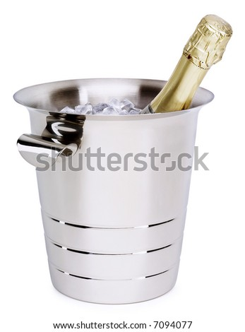 Champagne in a Bucket - isolated on white - stock photo