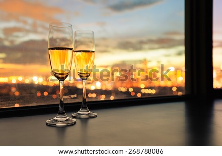 Champagne in the city. - stock photo