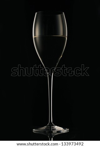 champagne on black background - stock photo
