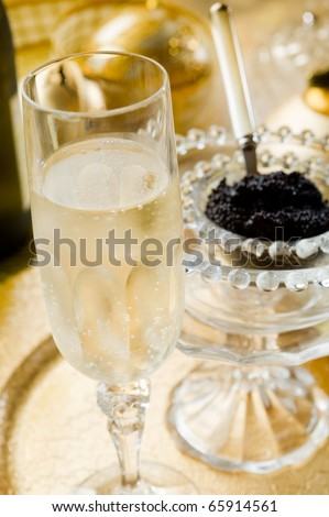 champagne over luxury table - stock photo