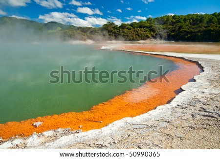 Champagne Pool at Wai-O-Tapu  geothermal area in  New Zealand