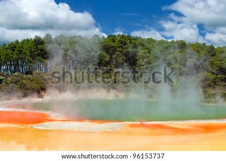 Champagne Pool in Wai-O-Tapu Geothermal Wonderland, Rotorua, New Zealand - stock photo