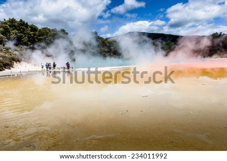 Champagne Pool in Waiotapu Thermal Reserve, Rotorua, New Zealand - stock photo