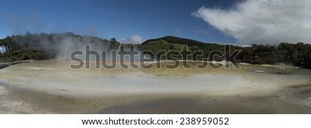 Champagne pool. New Zealand near Rotorua - stock photo