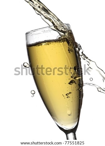 Champagne pouring and out of glass