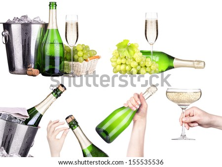 champagne set isolated on a  white background - stock photo