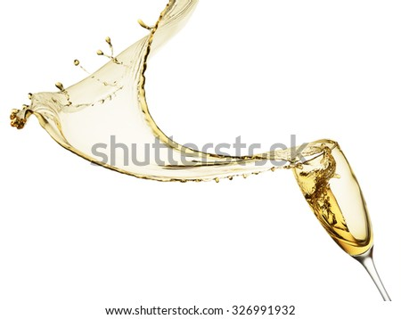 champagne splash isolated on the white background
