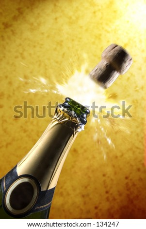 Champagne spray gold. - stock photo