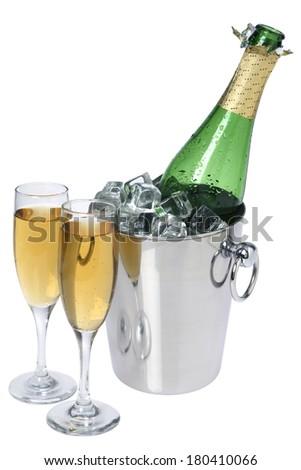 champagne still life on white  - stock photo