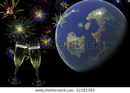 champagne toast and fireworks with earth - stock photo