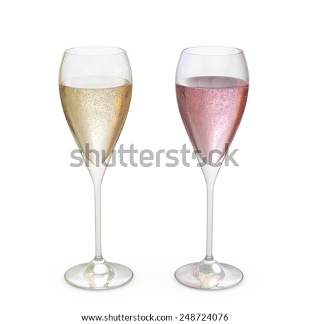 Champagne Tulip Glasses set with liquid, clipping path included  - stock photo
