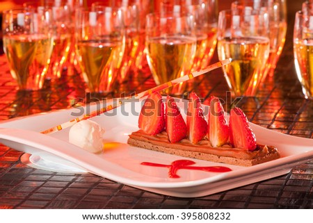 champagne wine and strawberries