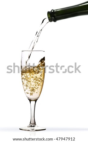 Champagne wine running into glass