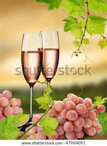 Champagne with background of  vineyard and pink grapes - stock photo