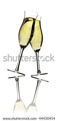 champagne with bubbles - stock photo