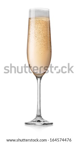 Champagne with bubbles in a glass isolated on white - stock photo