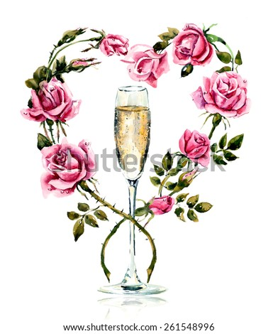 Champagne with roses. Wedding composition. Valentine day. Watercolor hand drawn illustration. - stock photo