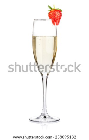 Champagne with strawberry. Isolated on white background - stock photo