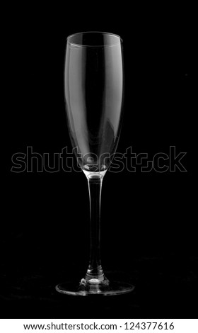 Champaign glass isolated on a black background.