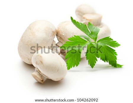 Champignon and parsley on white - stock photo