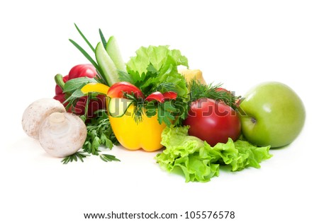 Champignon,apple,fresh vegetables cucumbers,sweet pepper, lemon, tomatoes with green leaves of parsley,rosemary, salad, fennel.