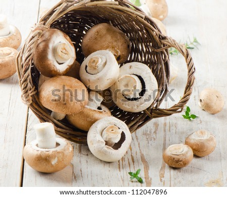 Champignon mushroom on a wooden table