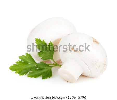 Champignon mushrooms with herbs. Isolated on white background - stock photo