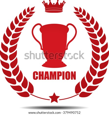 Champion, Label, Sticker or Icon Isolated on White Background. - stock photo