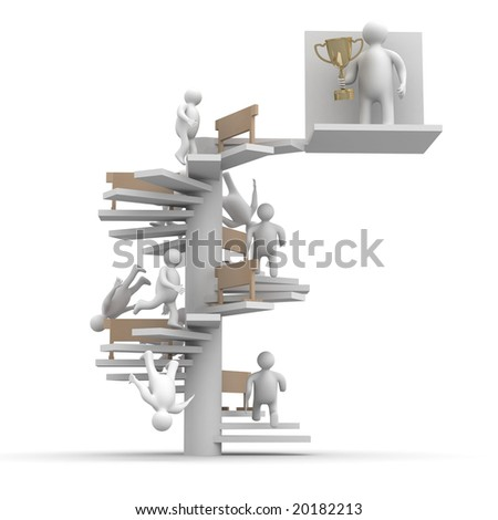 champion with a cup. Isolated 3D image. - stock photo