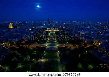 Champs de Mars as seen from the Eiffel Tower at dusk, Paris, France - stock photo