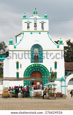 CHAMULA, MEXICO - march 26, 2015:  Local people at the church in San Juan Chamula, Mexico. - stock photo