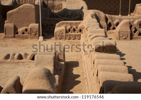 Chan Chan ruins near Trujillo in Peru. Ruins of the oldest known Pre-Colombian city in all of South America - stock photo