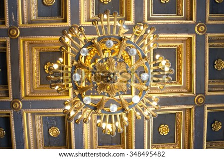 Chandelier in a palace, Rome, Italy - stock photo