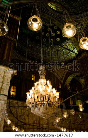Chandelier inside Mohammed Ali Mosque in Egypt - stock photo