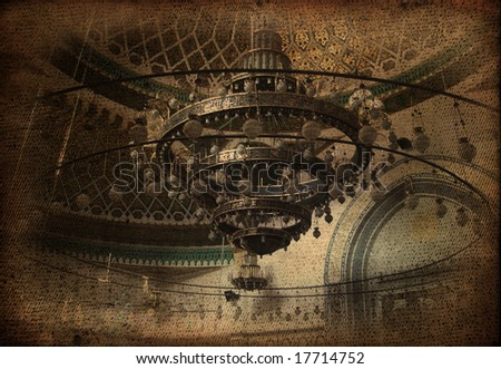 Chandelier inside Mosque - stock photo