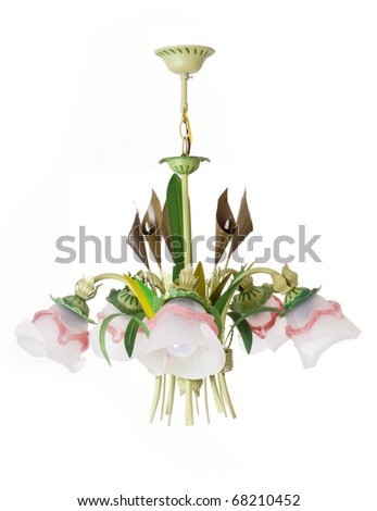 chandelier isolated on the white isolated - stock photo