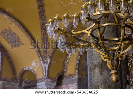 Chandeliers domes murals magnificent beautiful famous stock photo chandeliers domes and murals in magnificent and beautiful famous hagia sophia mosque hagia sophia aloadofball Images