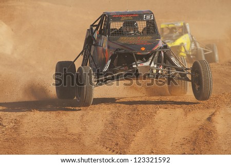CHANDLER, AZ - OCT 26: Mike Porter (8) at speed in Pro Buggy Lucas Oil Off Road Series racing during a qualifying session on October 26, 2012 at Firebird International Raceway in Chandler, AZ. - stock photo