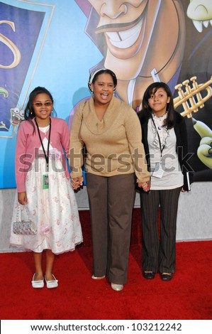 "Chandra Wilson, daughters Joy and Serena  at the ""The Princess And The Frog"" World Premiere, Walt Disney Studios, Burbank, CA. 11-15-09 - stock photo"