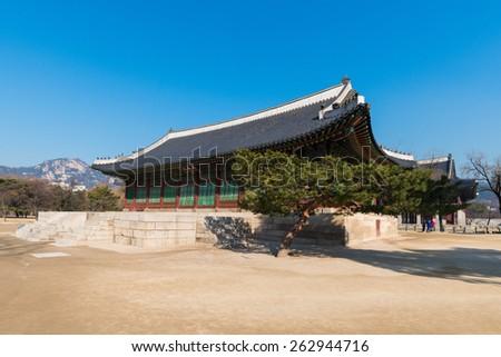 Changdeokgung Palace was the second royal villa built following Gyeongbukgung Palace in 1405. It was the principal palace for many of the Joseon kings. - stock photo