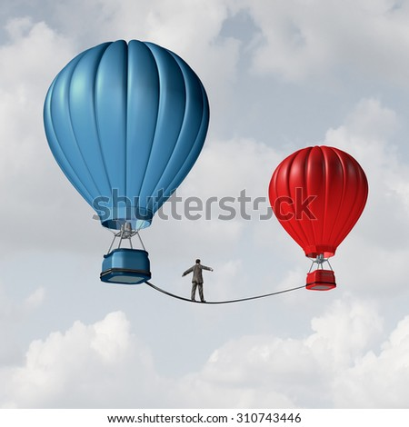Change challenge and caution business motivational concept as person walking on a tight rope high wire from one hot air balloon to another as taking a risk metaphor for changing position or career. - stock photo