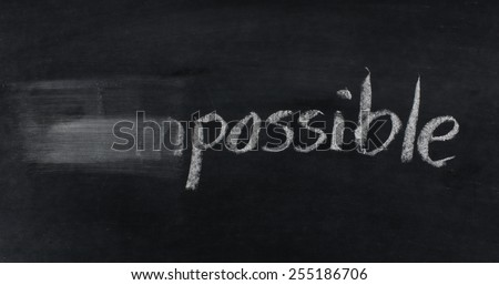 change impossible to possible concept hand written with chalk on blackboard - stock photo