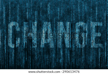Change - light blue matrix code - stock photo