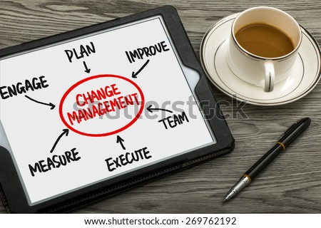 change management flowchart concept hand drawing on tablet pc - stock photo